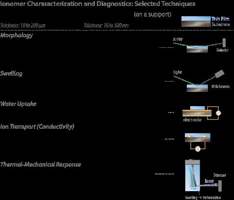 Morphology: SAXS/WAXS (bulk), GISAXS/GIWAXS (thin film). Swelling: dimensional change (bulk), spectroscopic ellipsometry (thin film). Water uptake: dynamic vapor sorption (bulk), quartz-crystal microbalance (thin film). Ion transport (conductivity): electrochemical cell or impedance setup (bulk), impedance measurement on inter-digitated (thin film). Thermal-mechanical response: stress-strain testing DMA (bulk), cantilever beam bending (thin film).