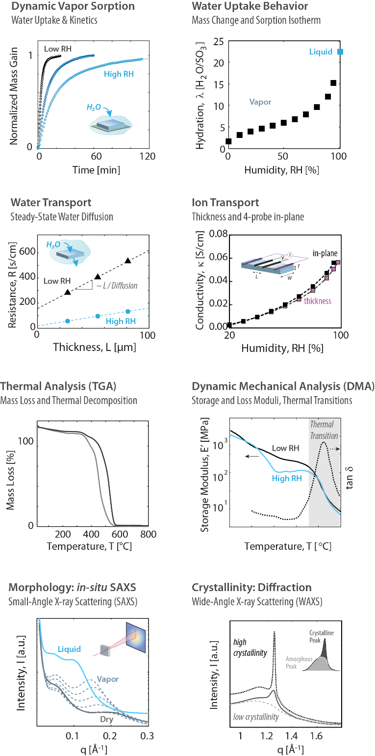 Example plots of dynamic vapor sorption, water uptake behavior, water transport, ion transport, thermal analysis, dynamic mechanical analysis, morphology by in-situ SAXS, and crystallinity: diffraction.